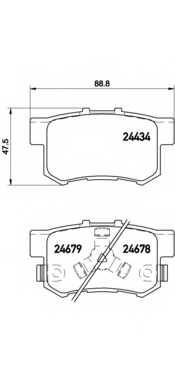 Колодки тормозные дисковые для HONDA ACCORD(CU) <b>BREMBO P 28 061</b> - изображение