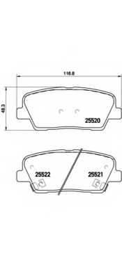 Колодки тормозные дисковые для HYUNDAI SANTA FE(CM,DM,SM) / KIA BORREGO, SORENTO(XM) <b>BREMBO P 30 063</b> - изображение
