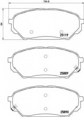 Колодки тормозные дисковые BREMBO P 30 071 - изображение