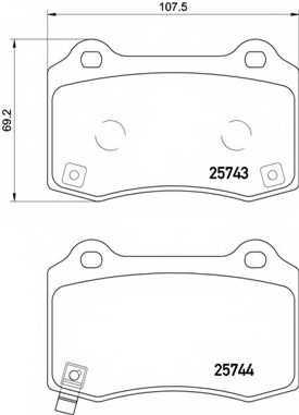 Колодки тормозные дисковые для HYUNDAI GENESIS / JEEP GRAND CHEROKEE(WK,WK2) <b>BREMBO P 30 074</b> - изображение