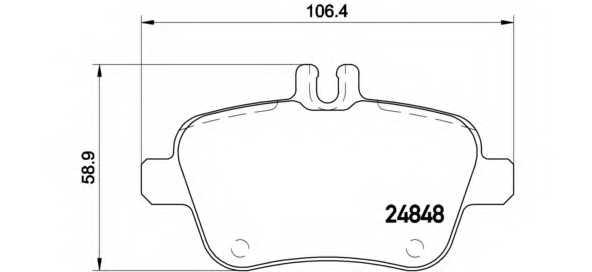 Колодки тормозные дисковые для MERCEDES A(W176), B(W242,W246), CLA(C117,X117), GLA(X156), SLK(R172) <b>BREMBO P 50 091</b> - изображение