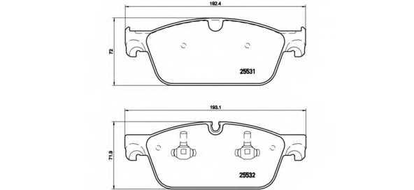 Колодки тормозные дисковые BREMBO P 50 102 - изображение