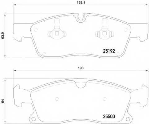 Колодки тормозные дисковые для MERCEDES GL(X166), GLE(C292,W166), GLS(X166), M(W166) <b>BREMBO P 50 109</b> - изображение