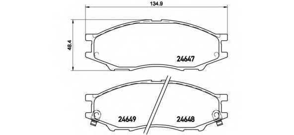 Колодки тормозные дисковые для NISSAN ALMERA(B10), CUBE(Z10), SUNNY <b>BREMBO P 56 083</b> - изображение