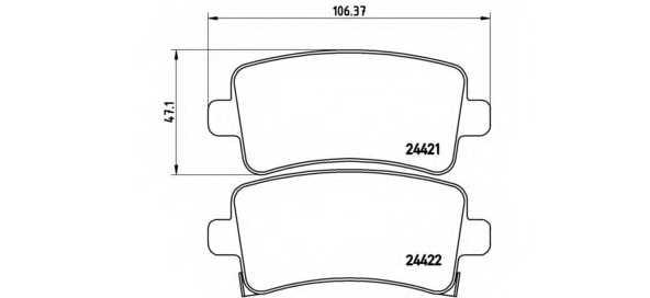 Колодки тормозные дисковые для CHEVROLET MALIBU(V300) / OPEL INSIGNIA / SAAB 9-5(YS3G) <b>BREMBO P 59 060</b> - изображение