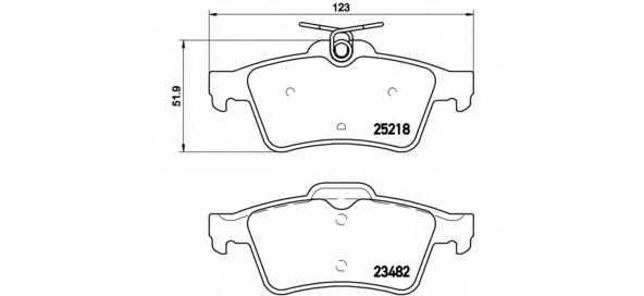Колодки тормозные дисковые для PEUGEOT 508 <b>BREMBO P 61 110</b> - изображение