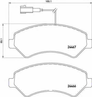 Колодки тормозные дисковые для CITROEN JUMPER / FIAT DUCATO(250,290) / PEUGEOT BOXER <b>BREMBO P 61 118</b> - изображение