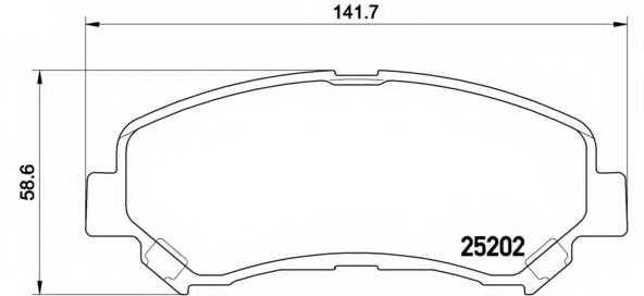 Колодки тормозные дисковые для NISSAN QASHQAI(J10,JJ10), X-TRAIL(T32#) / SUZUKI KIZASHI(FR) <b>BREMBO P 79 028</b> - изображение