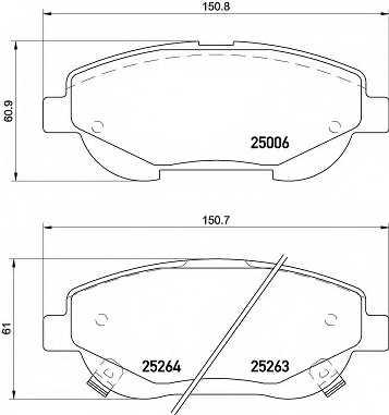 Колодки тормозные дисковые для TOYOTA AVENSIS(ADT27,ZRT27), VERSO(#AUR2#,#ZGR2#) <b>BREMBO P 83 148</b> - изображение