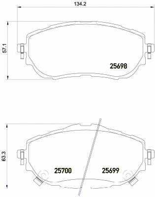 Колодки тормозные дисковые для TOYOTA AURIS(ADE18#, NDE18#, NZE18#, ZRE18#, ZWE18#), COROLLA(E15#, NDE18#, NRE18#, ZRE17#, ZRE18#) <b>BREMBO P 83 150</b> - изображение