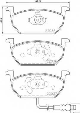 Колодки тормозные дисковые для AUDI A3(8V7,8VA,8VS) / SKODA OCTAVIA(5E3,5E5) / VW GOLF SPORTSVAN(AM1), GOLF(5G1,BA5,BE1) <b>BREMBO P 85 137</b> - изображение