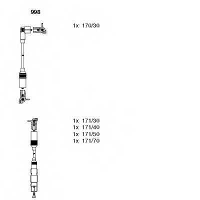 Комплект проводов зажигания BREMI 998 - изображение