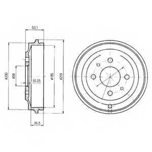 Тормозной барабан DELPHI BF389 - изображение