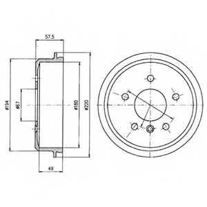 Тормозной барабан DELPHI BF395 - изображение
