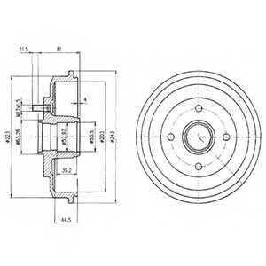 Тормозной барабан DELPHI BF402 - изображение