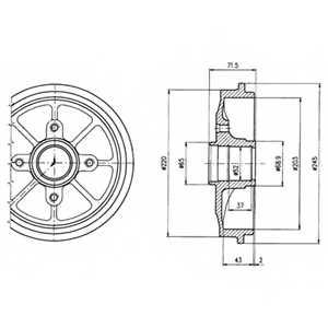 Тормозной барабан DELPHI BF484 - изображение