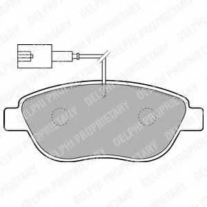 Колодки тормозные дисковые для CITROEN C4 / FIAT BRAVO, DOBLO, DUCATO, IDEA, LINEA, MULTIPLA, PUNTO, STILO Multi, STILO / LANCIA DELTA, MUSA / OPEL COMBO <b>DELPHI LP1721</b> - изображение