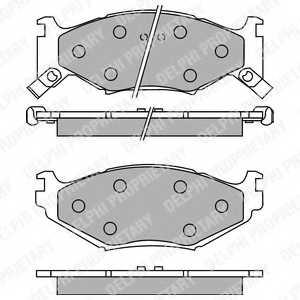 Колодки тормозные дисковые для CHRYSLER DAYTONA, LE BARON, SARATOGA, VOYAGER(ES,GS) <b>DELPHI LP891</b> - изображение