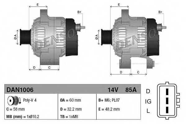 Генератор 85А для SUZUKI GRAND VITARA(FT), VITARA(TA,ET) <b>DENSO DAN1006</b> - изображение 3