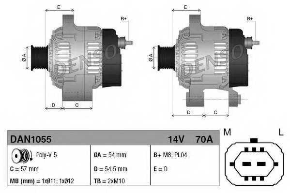 Генератор 70А для OPEL AGILA(A) (H00), ASTRA(L08,L35,L48), COMBO, CORSA(F68, W5L,F08), MERIVA, TIGRA TwinTop <b>DENSO DAN1055</b> - изображение