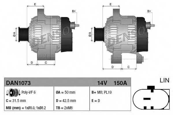 Генератор 150А для FORD B-MAX(JK), ECOSPORT, FIESTA, FOCUS, TOURNEO COURIER, TRANSIT COURIER <b>DENSO DAN1073</b> - изображение 3