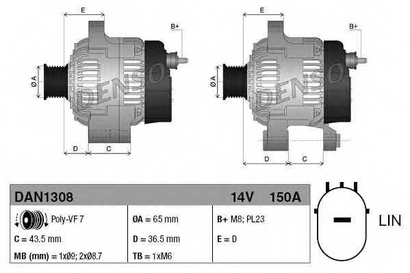 Генератор 150А для HONDA CIVIC(FK), CR(RE) <b>DENSO DAN1308</b> - изображение