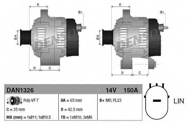 Генератор 150А для HONDA CR(RE) <b>DENSO DAN1326</b> - изображение
