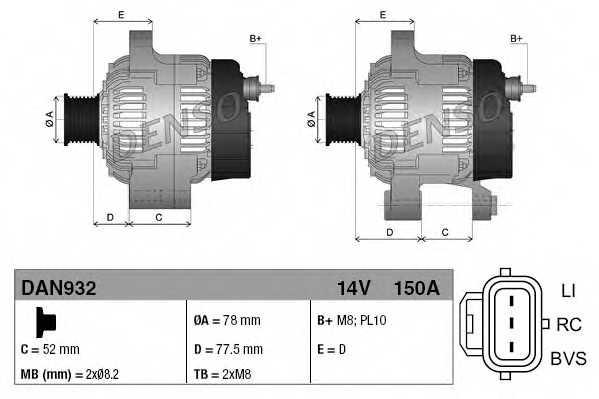 Генератор 150А для FORD C-MAX(DM2), FOCUS(DA#) <b>DENSO DAN932</b> - изображение 3