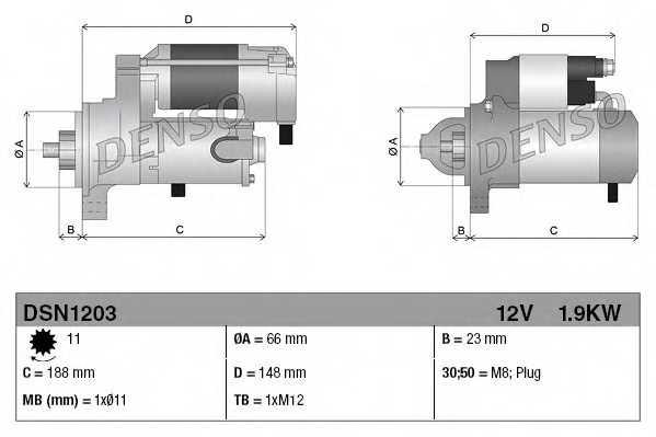 Стартер 1,9кВт для AUDI A4, A5, A6, A7, A8, Q5 / PORSCHE MACAN <b>DENSO DSN1203</b> - изображение