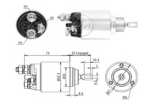 Тяговое реле стартера ERA ZM2381 - изображение