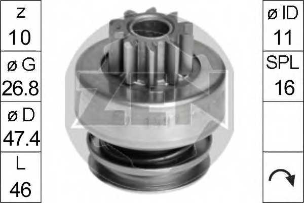 Привод с механизмом свободного хода стартера ERA ZN1597 - изображение