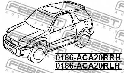 Монтажный комплект, крыло FEBEST 0186-ACA20RRH - изображение 1