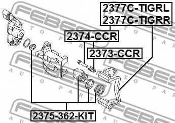 Комплект поддержки корпуса скобы тормоза FEBEST 2377C-TIGRR - изображение 1