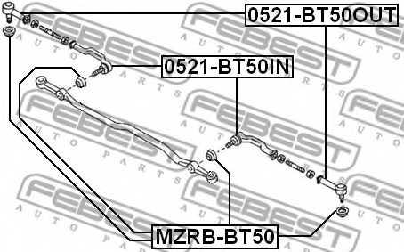 Ремкомплект, наконечник поперечной рулевой тяги FEBEST MZRB-BT50 - изображение 1