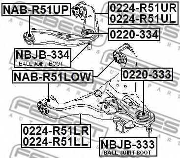 Ремкомплект, несущих / направляющих шарниров FEBEST NBJB-334 - изображение 1