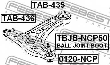 Ремкомплект, несущих / направляющих шарниров FEBEST TBJB-NCP50 - изображение 1