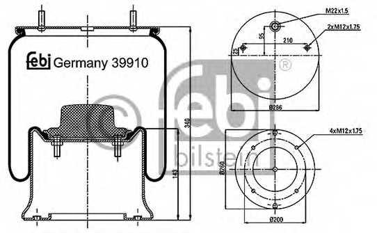 Кожух пневматической рессоры FEBI BILSTEIN 39910 - изображение