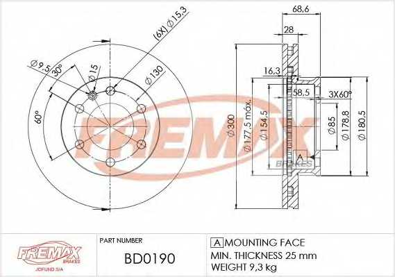 Тормозной диск FREMAX BD-0190 - изображение