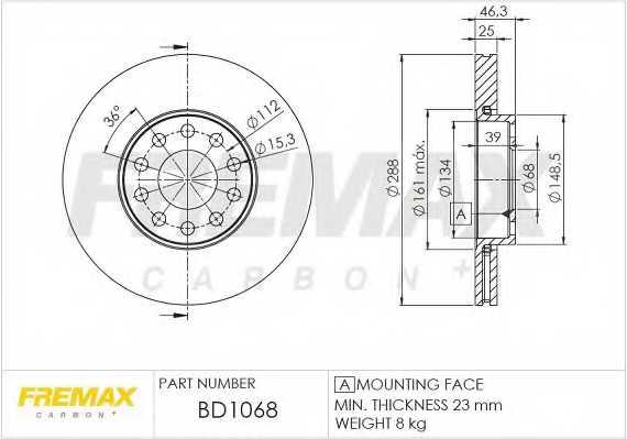 Тормозной диск FREMAX BD-1068 - изображение