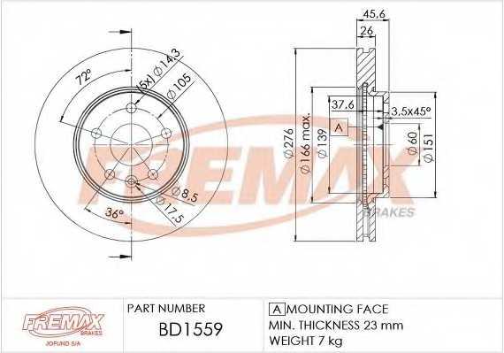 Тормозной диск FREMAX BD-1559 - изображение