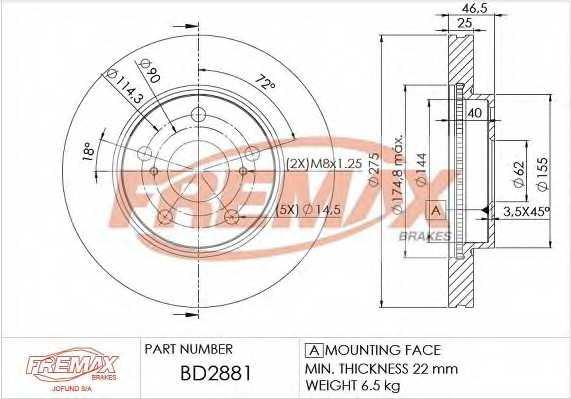 Тормозной диск FREMAX BD-2881 - изображение