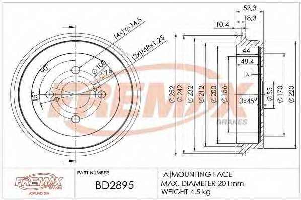 Тормозной барабан FREMAX BD-2895 - изображение