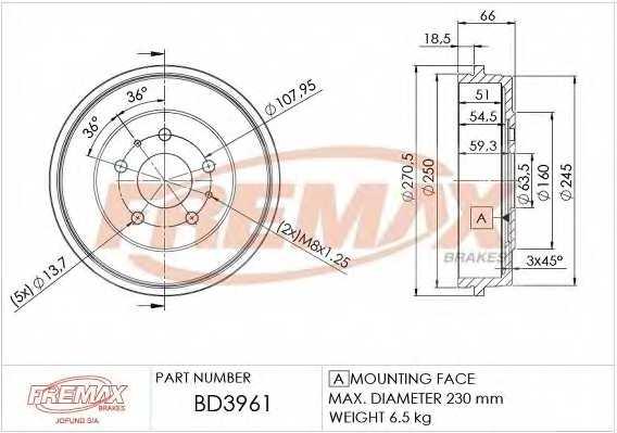 Тормозной барабан FREMAX BD-3961 - изображение