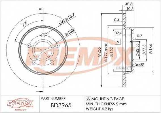 Тормозной диск FREMAX BD-3965 - изображение