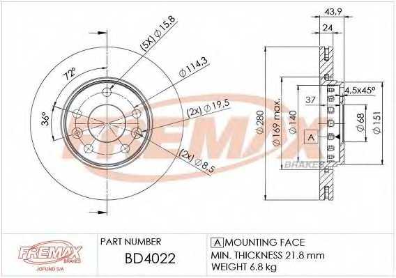 Тормозной диск FREMAX BD-4022 - изображение