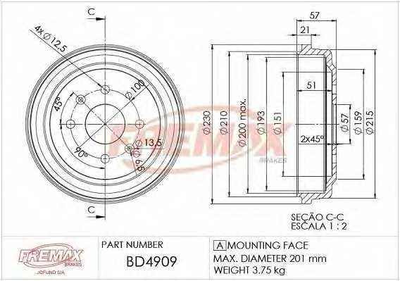 Тормозной барабан FREMAX BD-4909 - изображение