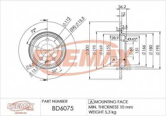 Тормозной диск FREMAX BD-6075 - изображение