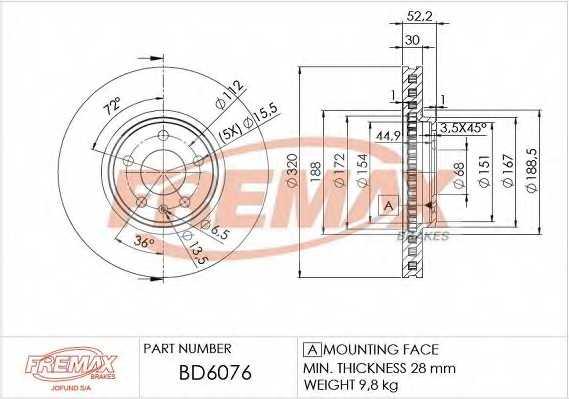 Тормозной диск FREMAX BD-6076 - изображение