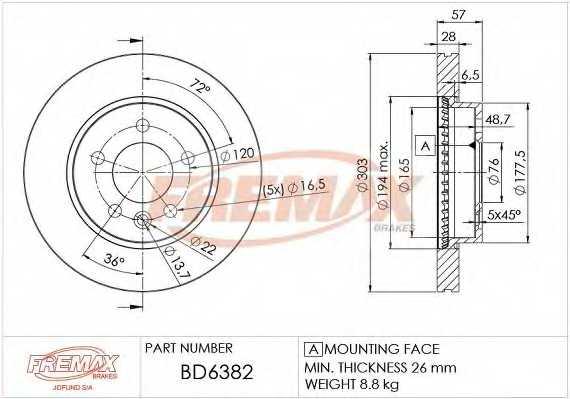 Тормозной диск FREMAX BD-6382 - изображение