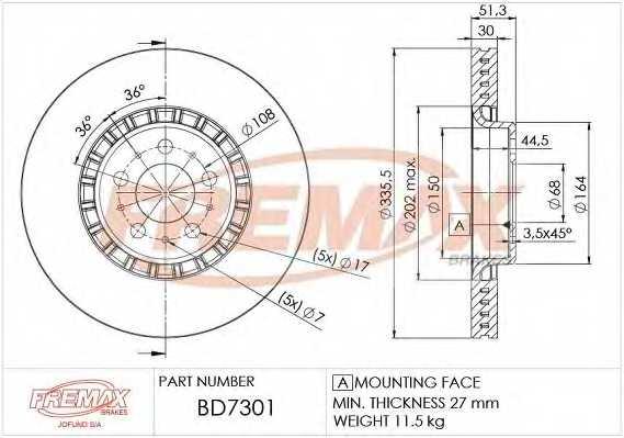Тормозной диск FREMAX BD-7301 - изображение